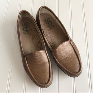 Metallic Brown Leather Loafers Comfort Shoes